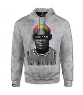 Sudadera con capucha para hombre Leg3nd The Worm con Dennis Rodman en color gris. Otros modelos de baloncesto al mejor precio en chemasport.es