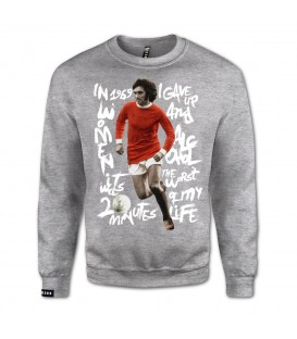 Sudadera para hombre Leg3nd The Fifth Beatle de color gris con George Best estampado en la parte frontal en chemasport.es