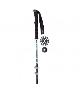 Bastón de trekking Ternua Kang Pole negro y azul con sistema quick lock y empuñadura de goma.