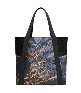 Bolso tote tipo shopping de la colección Gipsy de Desigual con detalles dorados. Otros bolsos de Desigual en Chema Sport.