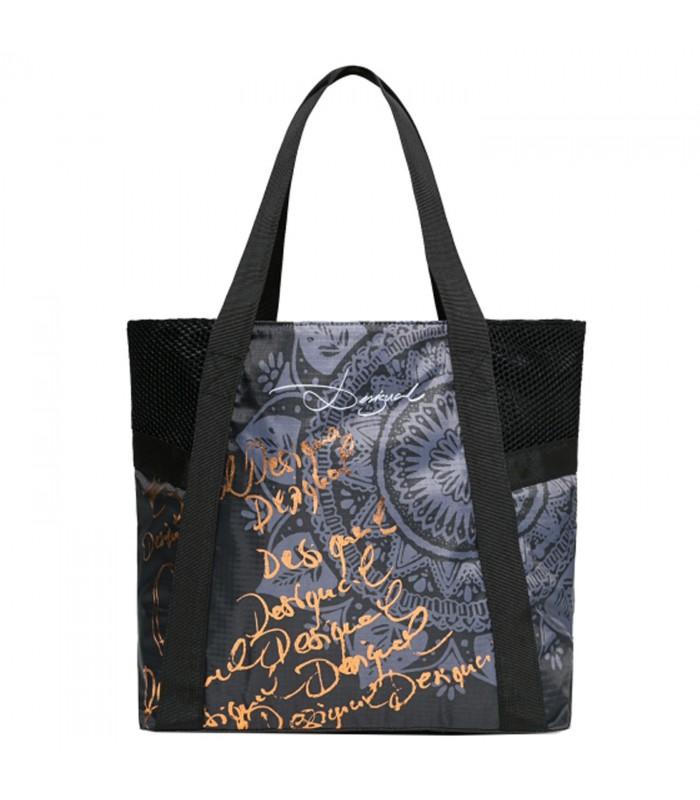 Bolso tote tipo shopping de la colección Gipsy de Desigual con detalles dorados. Otros bolsos