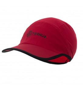 Visera de trekking Virt cap de color rojo de la marca Ternua con ajuste trasero e impermeable.