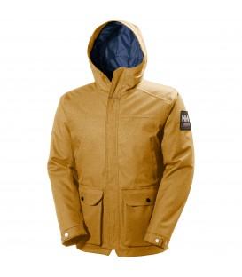 Cazadora de Helly Hansen con capucha, resistente a roturas, impermeable, transpirable y cortaviento de color mostaza para hombre.