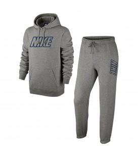Chándal para hombre en color gris Nike M NSW con sudadera con capucha y pantalón con cintura elástica. Envíos en 24-48horas.