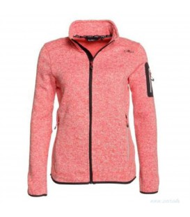 CHAQUETA KNITTED MELANGE FLEECE CMP MUJER ROSA 3H14746