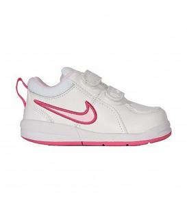 Zapatillas de bebé Nike Pico 4 de color blanco y rosa con cierre de velcro para poner y quitar fácilmente. Nike 454478-103
