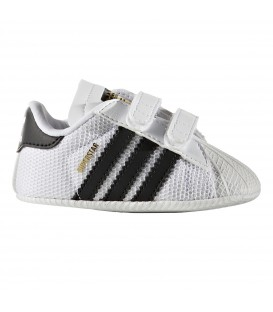 Comprar patucos Adidas Superstar Crib S79916 en color blanco para bebé en chemasport.es