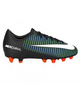 Comprar botas de fútbol Mercurail Vapor XI (AG) 831944-013para nilo en color negro con detalles en color verde y azul al mejor precio en chemasport.es