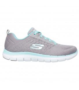 Zapatillas para mujer ideales para caminar Skechers Flex Appeal 2.0 Break Free de color gris y azul turquesa. Descubre más productos Skechers en chemasport.es
