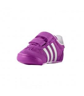 Comprar patucos para bebé Adidas Dragon L2W en color violeta y 3 bandas de Adidas en blanco.