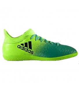 Botas de fúbtol sala Adidas X 16.3 IN J para niños de color verde. Zapatillas de fútbol sala para pistas cubiertas. Envíos en 48 h en chemasport.es