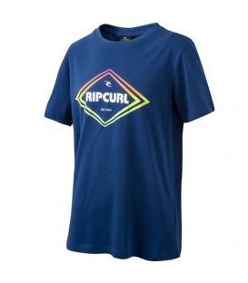 Camiseta de manga corta para niño Rip Curl Gradian Diamond SS Tee de color azul con logotipo estampado y detalles geométricos. Envíos Nacionales 48 horas