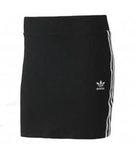 Comprar mini falda clásica de Adidas 3 stripes BK001 de color negro con las bandas blancas para mujer en Chema Sport.