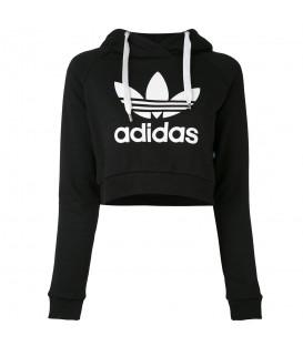 Sudadera negra con capucha tipo crop Adidas Crop Hoodie para mujer. Ideal para tus entrenamientos en el gimnasio.
