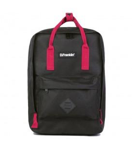Comprar mochila Frank de D Franklin negra con asas rosas al mejor precio en chemasport.es
