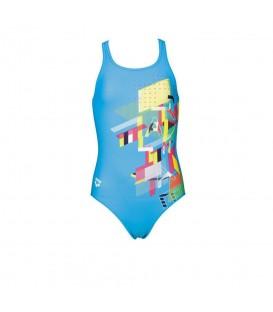 Bañador Arena Vind Junior 2A478 085 para niña en color azul. Bañadores natacion para niños en chemasport.es al mejor precio