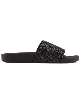 CHANCLAS THE WHITE BRAND GLITTER BLACK