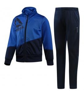 Chándal Reebok Boys Essential Tracksuit BQ9938 para niños en color azul al mejor precio en chemasport.es