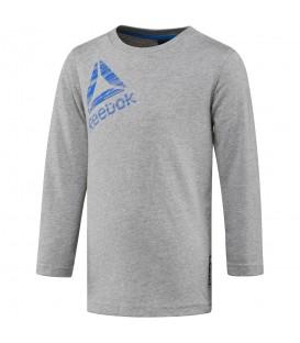 Camiseta Reebok Boys Essential Longsleeve T-Shirt BQ7688 para niños en color gris. Camisetas manga larga Reebok en chemasport.es