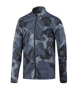 Chaqueta de running para hombre 100% reflectante Reebok Running Reflective Woven Jacket con print militar. Descubre más en nuestro catálogo de running y Outlet.