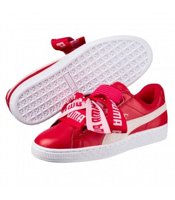 puma basket heart mujer rojo