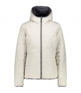 Cazadora para mujer con capucha Campagnolo Woman Jacket Fix Hood de color blanco roto.