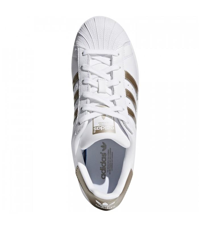 zapatillas adidas superstar mujer blancas y doradas