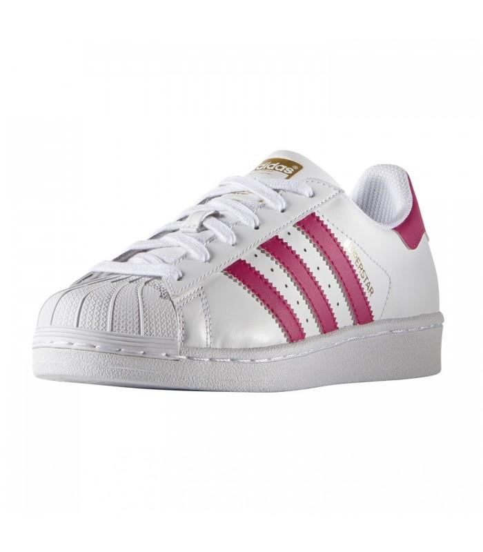 269831c147a Zapatillas adidas Superstar Junior blanca con las bandas en rosa