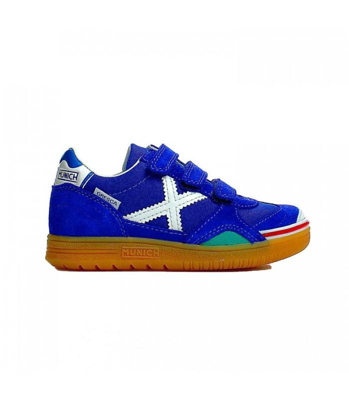 a7bf914b0ea85 Zapatillas de fútbol sala Munich Gresca Kids para niños de color azul