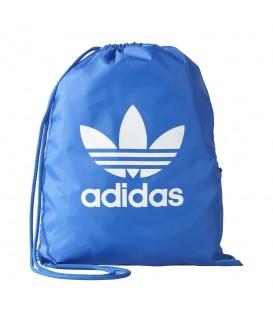 Saquito adidas Trefoil BJ8358 de color azul, mochila tipo saco con cierre de cordones, más colores en chemasport.es