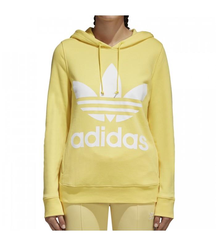 Sudadera con capucha adidas Trefoil para mujer en color amarillo