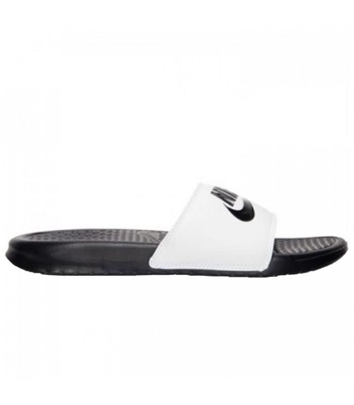 """Chanclas Nike Benassi """"Just Do It"""" para hombre en color blanco y negro"""