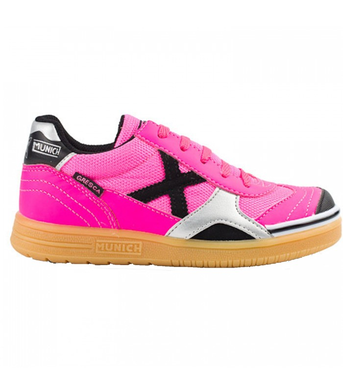 Zapatillas de fútbol sala Munich Gresca Kids para niños de color rosa 8aef3fe8b8991