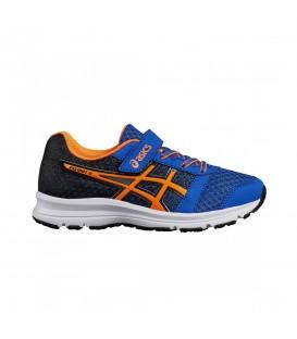 Zapatillas de running para niños Asics Patriot 9 PS con cierre de velcro de color azul. Otros modelos de running para niños en chemasport.es