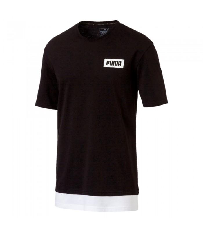 Camiseta de manga corta para hombre Puma Rebel de color negro. cd70a4cedb6de