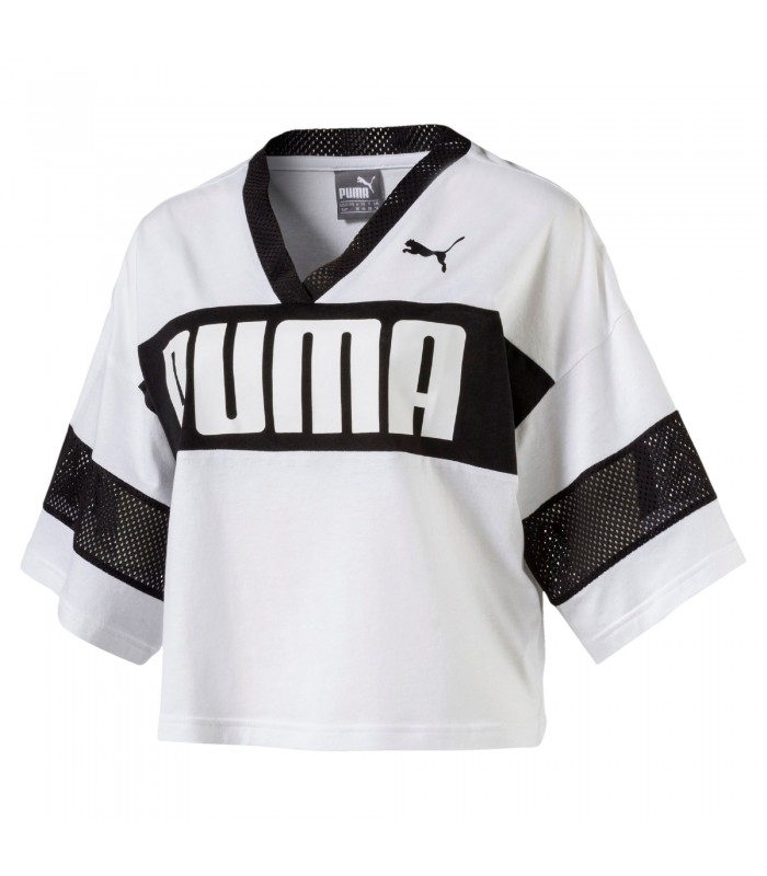 Camiseta cropped top Puma Urban Sports blanco negro 39b23cfa0a56b