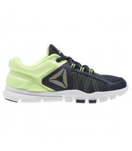 Zapatillas para mujer y niños Reebok Yourflex Train 9 CN0765 de color negro y verde al mejor precio en chemasport.es