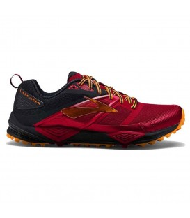 Zapatillas de trail running para hombre Brooks Cascadia 12 1102431D663 de color negro y rojo son perfectas para iniciación al trail