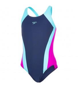 Bañador Speedo Contrast Panel Splashback para niña. Ref: SO-8-08749C232. Perfecto para entrenamientos o para sus vacaciones en la playa. Tejido duradero.