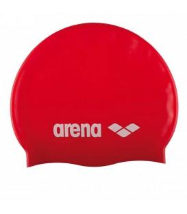 Gorro de piscina Arena Silicone 91662 044 en color rojo, gorro de natación para uso regular que proporciona un ajuste perfecto gracias a su elasticidad.