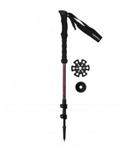 Bastón de trekkin Ternua Kangri Pole 2640021-5876 en color negro y rojo, 275g con 3 secciones extensible de 67/135cm en 3 secciones, incluye 2 arandelas y tapón