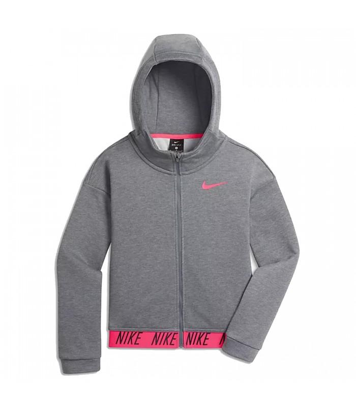 Exclusión Oír de Prohibición  Chaqueta con capucha Nike Dri-FIT para niñas de color gris