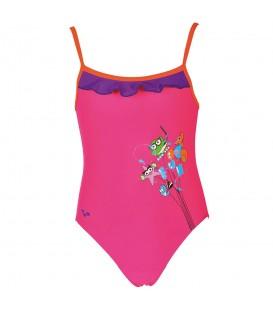 Compra ahora este bañador Arena AWT Rouche para niñas de color rosa. Prepárate para el verano con Arena: calidad, resistencia al cloro y protección UV.