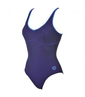 Bañador de natación arena Tania Clip Back 000911-708 para mujer en color azul marino fabricado con tejido duradero, resistente al cloro y protección UPF 50+.