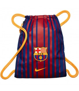 Saquito Nike FC Barcelona BA5413-485 en color azul y granate, mochila tipo saco con cierre de cordones con un compartimento principal y bolsillo con cremallera.