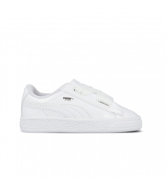 dba90dc3c7245 Zapatillas Puma Basket Heart Patent INF para niños de color blanco.