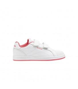 Zapatillas con cierre de velcro Reebok Royal Comp CLN 2V CN4831 de color blanco y coral al mejor precio en chemasport.es
