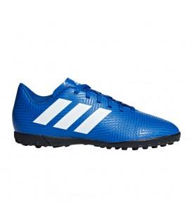 Botas De Fútbol adidas Nemeziz Tango 18.4 Tf Junior DB2381para niños en color azul y blanco, botas de fútbol para hierba artificial.