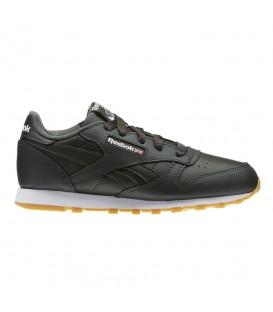 Zapatillas para niños Reebok Classic Leather 68192 de color negro con suela caramelo al mejor precio en chemasport.es
