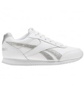Zapatillas para niños vuelta al cole Reebok Royal Classic Jogger 2.0 CN1325 de color blanco y plata al mejor precio en chemasport.es